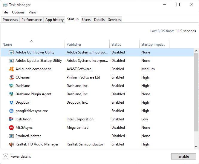 Stolas - disattivare programmi avvio windows 10 - gestione attività