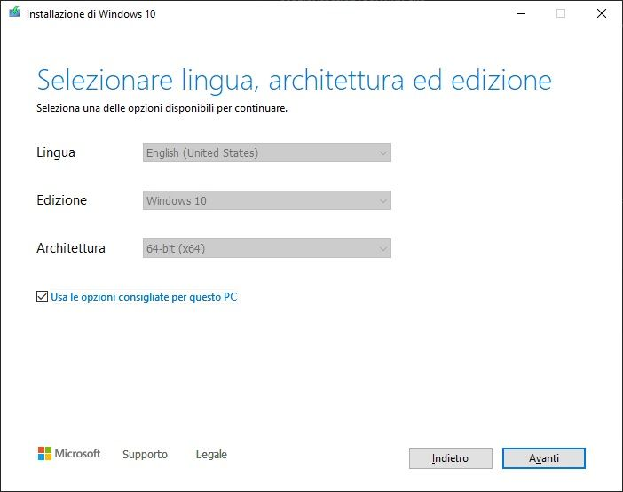 Crea supporto Windows 10 gratis