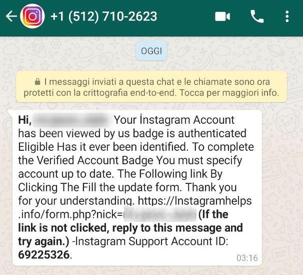 Phishing Instagram - Messaggio Whatsapp