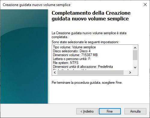 Fine procedura guida creazione volume hard disk