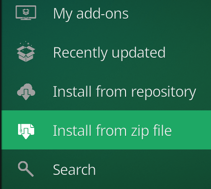 Kodi Add-on Install from zip file