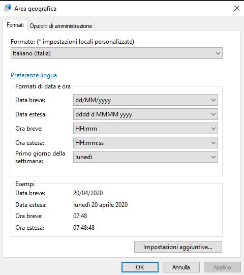 Area geografica - Impostazioni Windows 10
