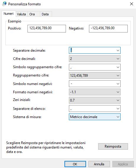 Separatore di elenco CSV - Windows 10