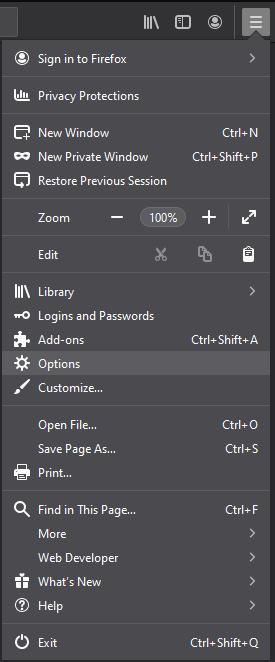 Firefox menu impostazioni