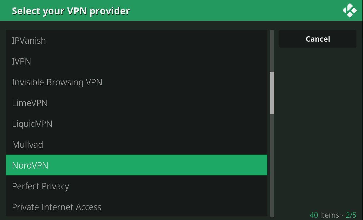 VPN Manager OpenVPN Kodi Wizard Elenco Provider