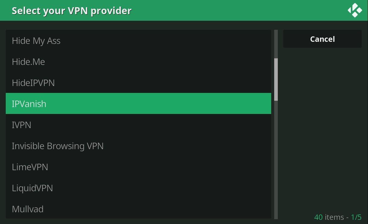 VPN Manager OpenVPN Kodi Wizard IPVanish