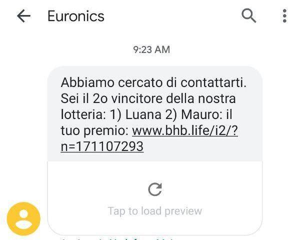 Phishing Euronics - Abbiamo cercato di contattarti