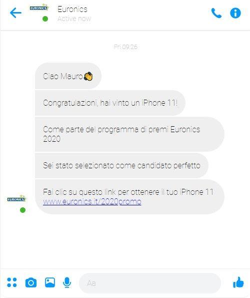 Phishing Euronics - Sito Messenger