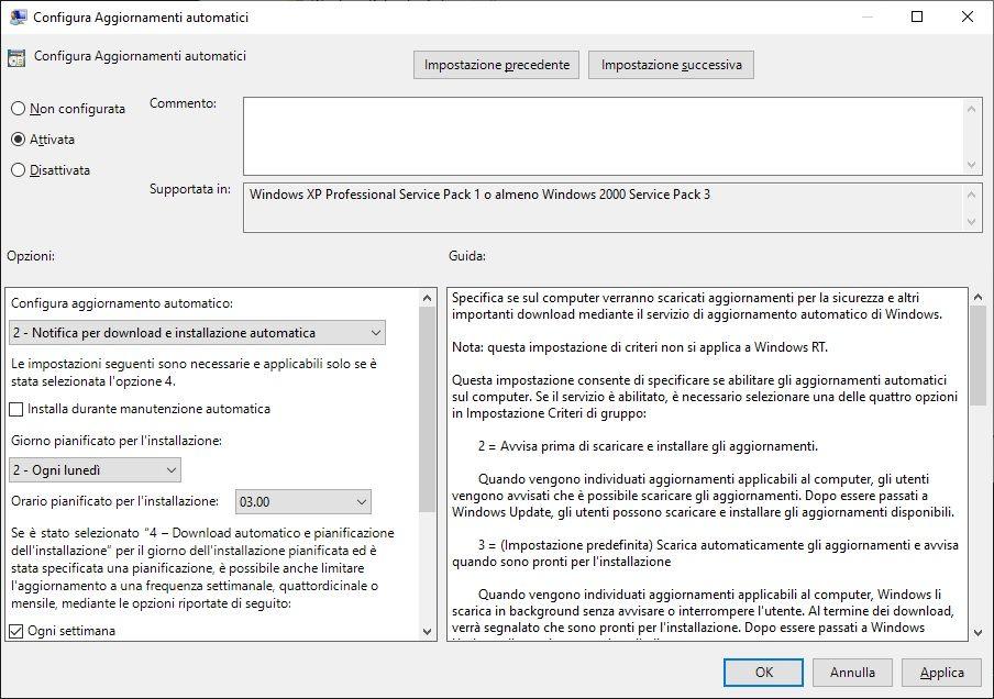 controllare aggiornamenti windows 10 - criteri gruppo