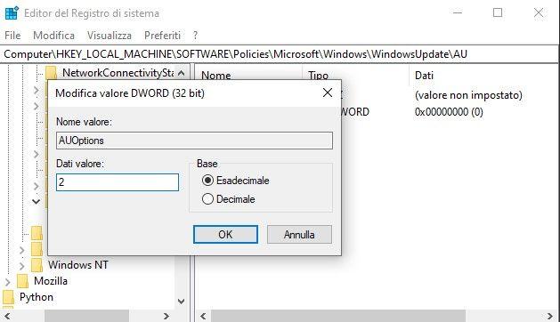 controllare aggiornamenti windows 10 - registro