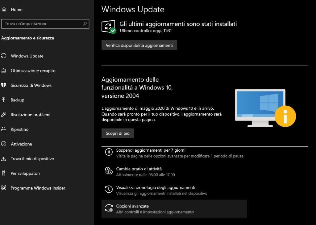 disattivare aggiornamenti windows 10 - impostazioni