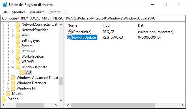 disattivare aggiornamenti windows 10 - registro