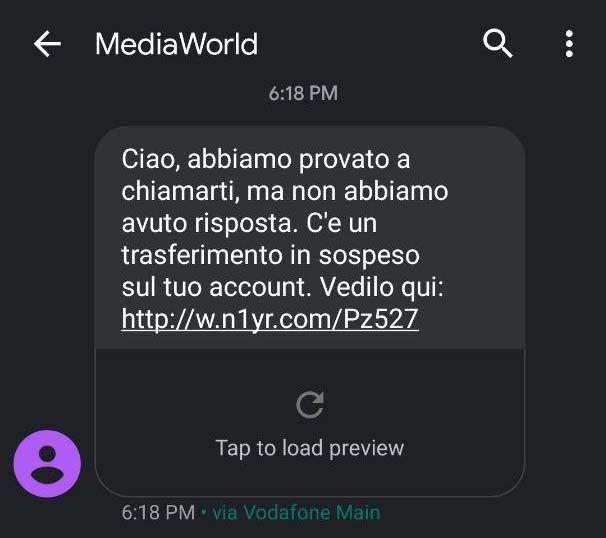 Phishing MediaWorld - Ciao abbiamo provato chiamarti