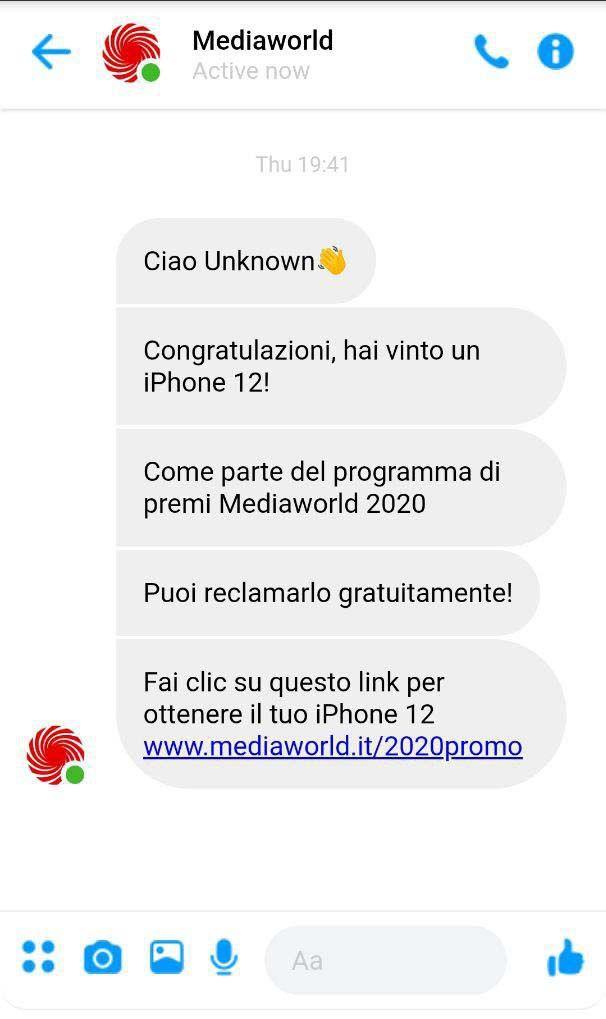 Phishing Mediaworld - sito messenger