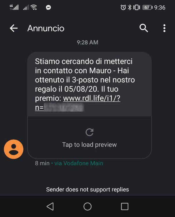Phishing unieuro - stiamo cercando metterci contatto