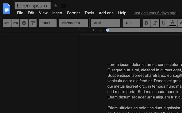 tema scuro google documenti - darkdocs applicato