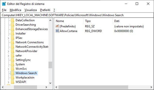 rimuovere-cortana-windows-editor-registro