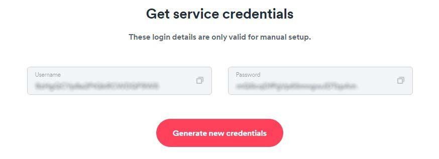 surfshark - openvpn service credentials