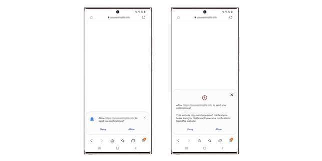 Samsung Internet Richiesta Autorizzazione