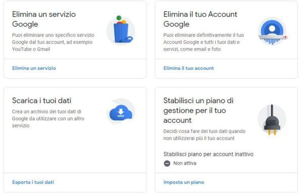 elimina-servizi-account-google